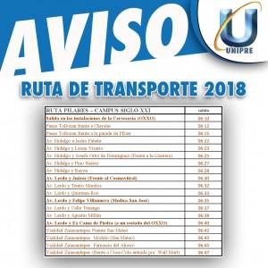 RUTA DE TRANSPORTE UNIPRE 2018